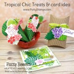 Tropical Chic pillow box, Treats and square card featuring Stampin