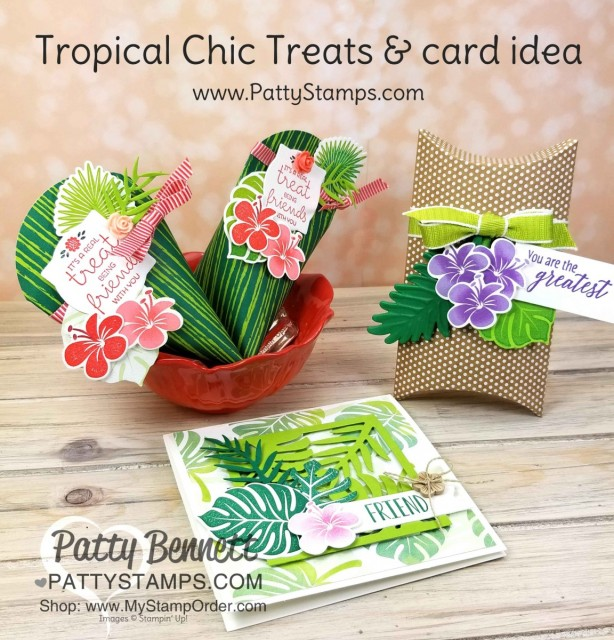 Tropical Chic pillow box, Treats and square card featuring Stampin' Up! Tropical Chic leaf and flower stamps and dies. www.PattyStamps.com