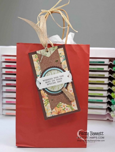 Tropical Oasis Stampin' Up! designer paper birthday gift bag tag idea. www.PattyStamps.com