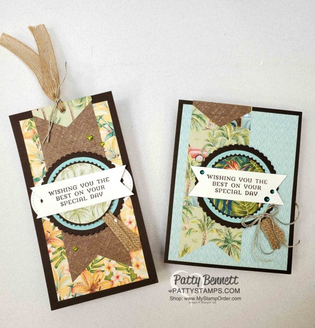 Tropical Oasis Stampin' Up! designer paper birthday gift bag tag and matching birthday card idea. www.PattyStamps.com