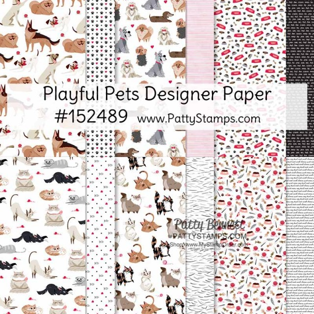 Playful Pets designer paper with dogs and cats, #152489 www.PattyStamps.com