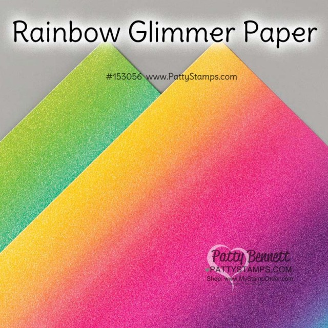 Rainbow Glimmer Paper from Stampin' Up! for papercrafting and card making. #153056 www.PattyStamps.com
