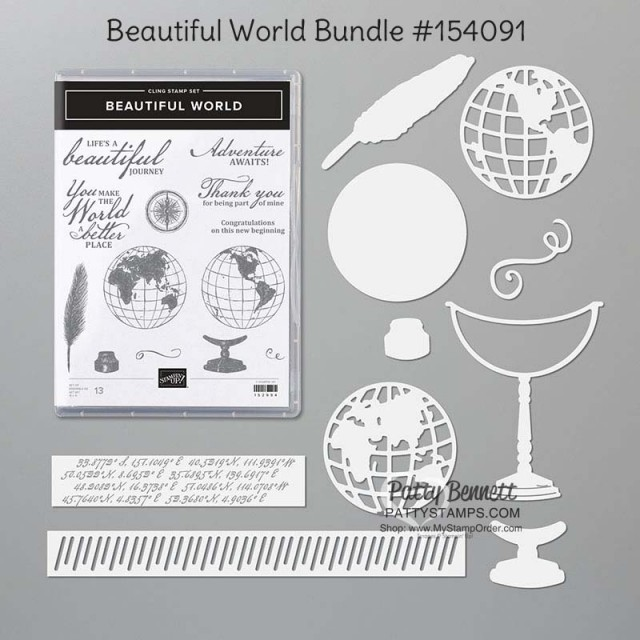 154091 Stampin Up Beautiful World Bundle stamp set and dies, www.PattyStamps.com