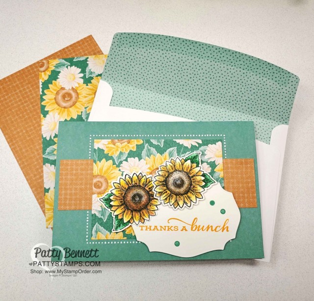Stampin' UP! Memories & More cards and envelopes in Just Jade. Celebrate Sunflowers colored with Stampin' Blends markers, and Flowers for Every Season designer paper, by Patty Bennett www.PattyStamps.com