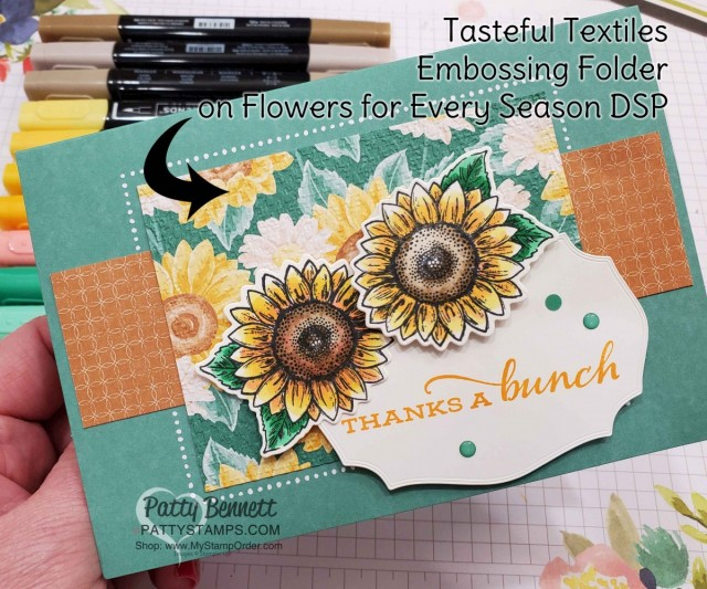 Stampin' UP! Memories & More cards and envelopes in Just Jade. Celebrate Sunflowers colored with Stampin' Blends markers, and Flowers for Every Season designer paper embossed with Tasteful Textile embossing folder, by Patty Bennett www.PattyStamps.com