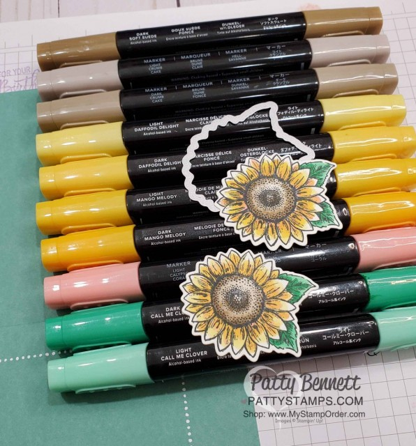 Stampin' UP! Celebrate Sunflowers colored with Stampin' Blends markers by Patty Bennett www.PattyStamps.com