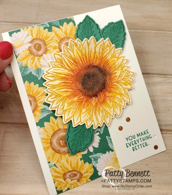How to add ink with a sponge dauber direct to rubber on the Celebrate Sunflower stamp. Stampin' UP! card with Flowers for Every Season paper, by Patty Bennett www.PattyStamps.com