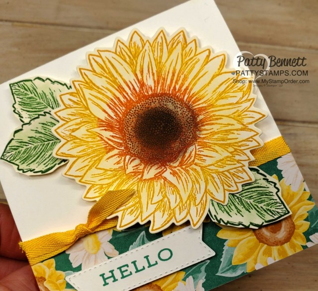 How to add ink with a sponge dauber direct to rubber on the Celebrate Sunflower stamp. Stampin' UP! card by Patty Bennett www.PattyStamps.com