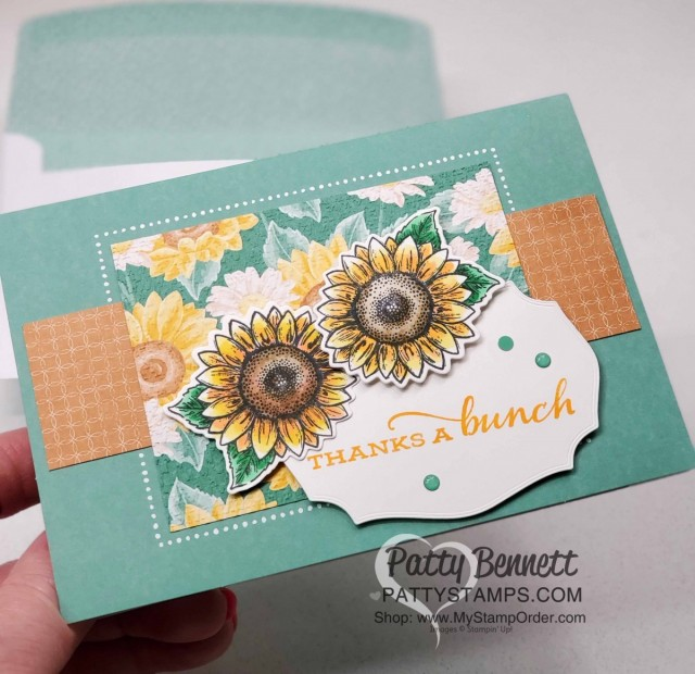 Stampin' UP! Memories & More cards and envelopes in Just Jade. Celebrate Sunflowers colored with Stampin' Blends markers, by Patty Bennett www.PattyStamps.com
