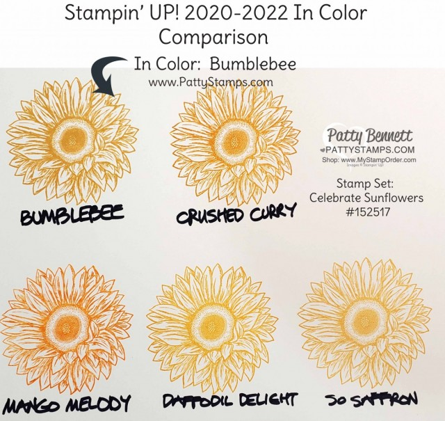 Bumblebee Stampin' Up! 2020-2022 In Color Comparison Chart by Patty Bennett www.PattyStamps.com