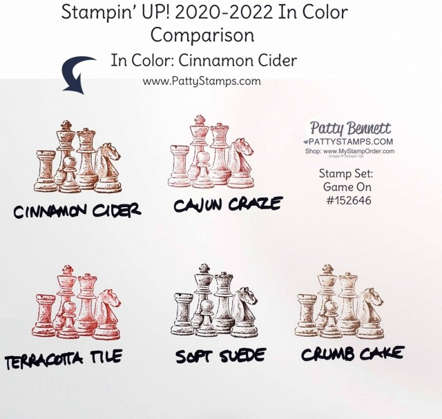 Cinnamon Cider Stampin' Up! 2020-2022 In Color Comparison Chart by Patty Bennett www.PattyStamps.com