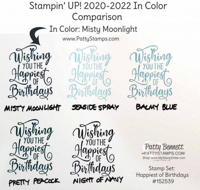 Misty Moonlight Stampin' Up! 2020-2022 In Color Comparison Chart by Patty Bennett www.PattyStamps.com