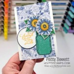 Jar of Flowers Jar Punch in Just Jade In Color designer paper with Celebrate Sunflowers blue sunflowers card idea by Patty Bennett www.PattyStamps.com