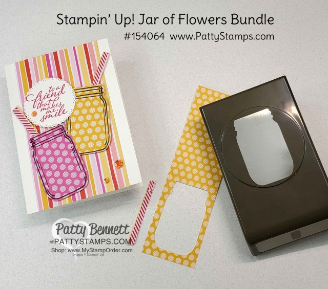Jar of Flowers bundle from Stampin' UP!: Mason Jar pink and yellow lemonade card idea with straw and In Color polkadot paper. www.PattyStamps.com
