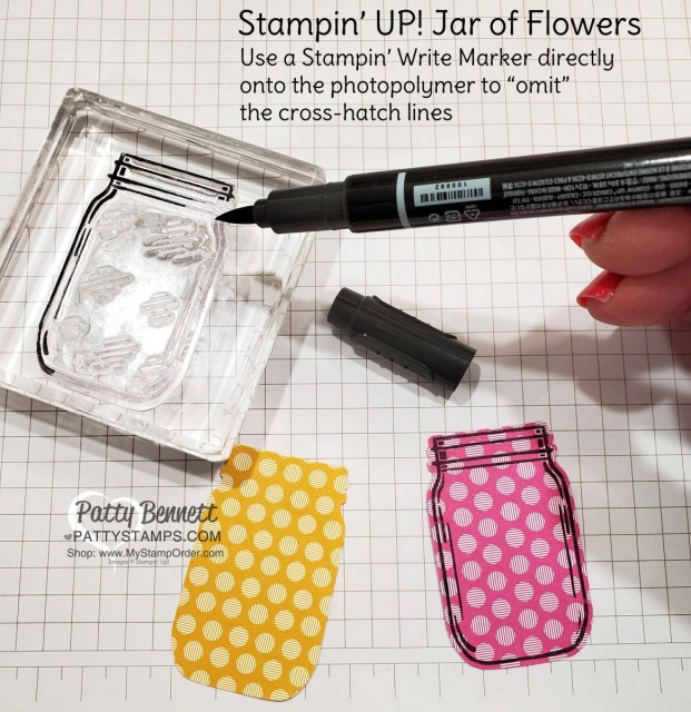 Tip for Omitting cross-hatch with Stampin' Write Marker. Jar of Flowers bundle from Stampin' UP!: Mason Jar pink and yellow lemonade card idea with straw and In Color polkadot paper. www.PattyStamps.com