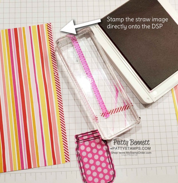 Tip for stamping straw on Flowers for Every Season striped paper. Jar of Flowers bundle from Stampin' UP!: Mason Jar pink and yellow lemonade card idea with straw and In Color polkadot paper. www.PattyStamps.com
