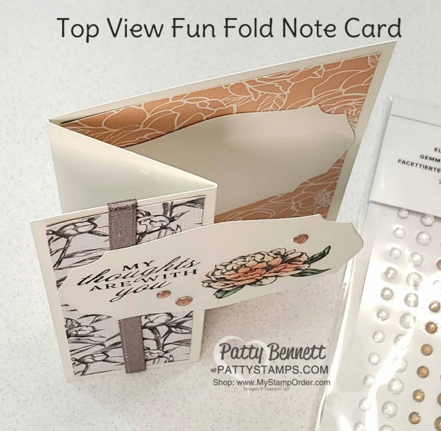 Top View: Super easy fun fold card featuring Stampin' Up! thick Whisper White note cards, Peony Garden paper, shimmery granite ribbon, and Peony stamp set. by Patty Bennett www.PattyStamps.com