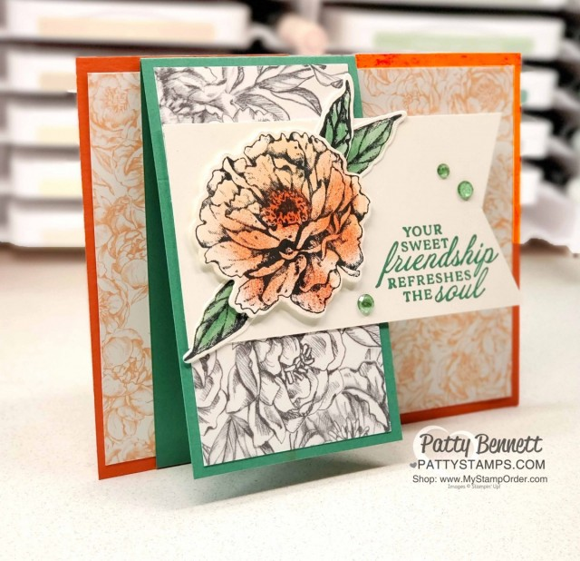Fun Fold Card idea featuring Stampin' Up! Prized Peony bundle colored with Sponge Daubers, Peony Garden designer paper and Elegant Faceted Gems. by Patty Bennett www.PattyStamps.com