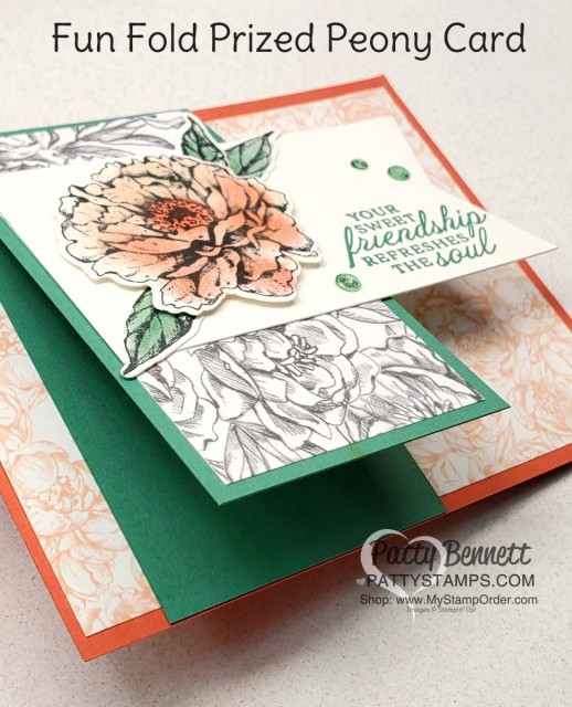 Fun Fold Card idea featuring Stampin' Up! Prized Peony bundle, Peony Garden designer paper and Elegant Faceted Gems. by Patty Bennett www.PattyStamps.com
