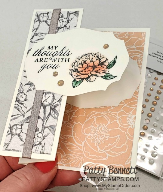Super easy fun fold card featuring Stampin' Up! thick Whisper White note cards, Peony Garden paper, shimmery granite ribbon, and Peony stamp set. by Patty Bennett www.PattyStamps.com