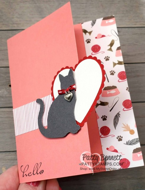Playful Pets card featuring Stampin' UP! cat punch and Heart Punch Pack. www.PattyStamps.com