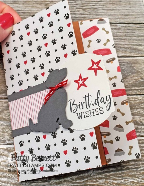 Playful Pets card featuring Stampin' UP! Dog Builder punch, Fancy Phrases set and Playful Pets Trim Combo Pack. www.PattyStamps.com