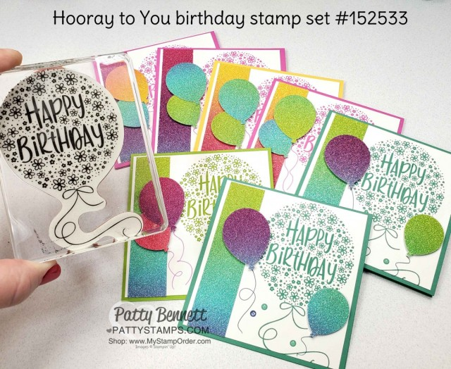 Rainbow Glimmer Paper from Stampin' Up! creates amazing birthday balloon cards featuring Hooray to You stamp set and Balloon punch! by Patty Bennett www.PattyStamps.com