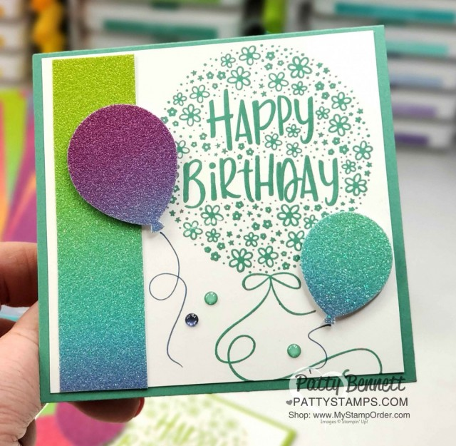 Rainbow Glimmer Paper from Stampin' Up! Create amazing birthday cards featuring Hooray to You stamp set, 2020-2022 In Color Just Jade, and the Balloon punch! by Patty Bennett www.PattyStamps.com