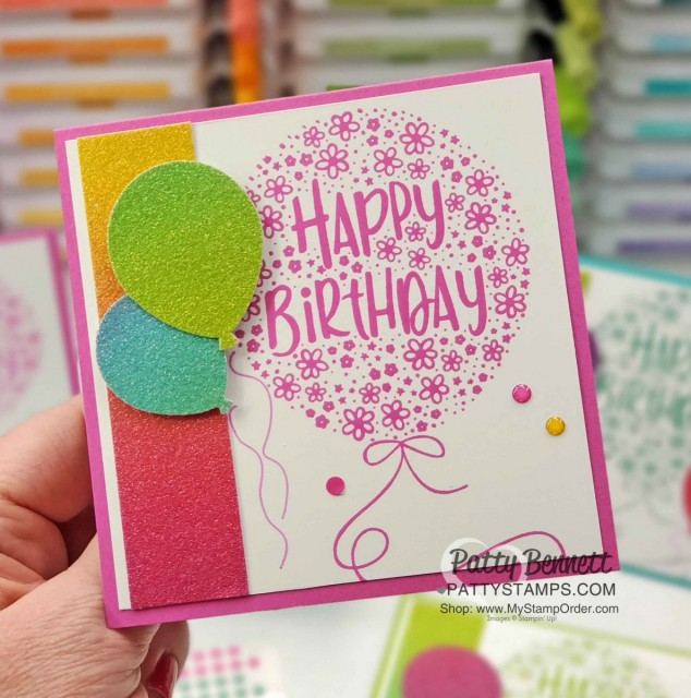 Rainbow Glimmer Paper from Stampin' Up! Create amazing birthday cards featuring Hooray to You stamp set, 2020-2022 In Color Magenta Madness, and the Balloon punch! by Patty Bennett www.PattyStamps.com