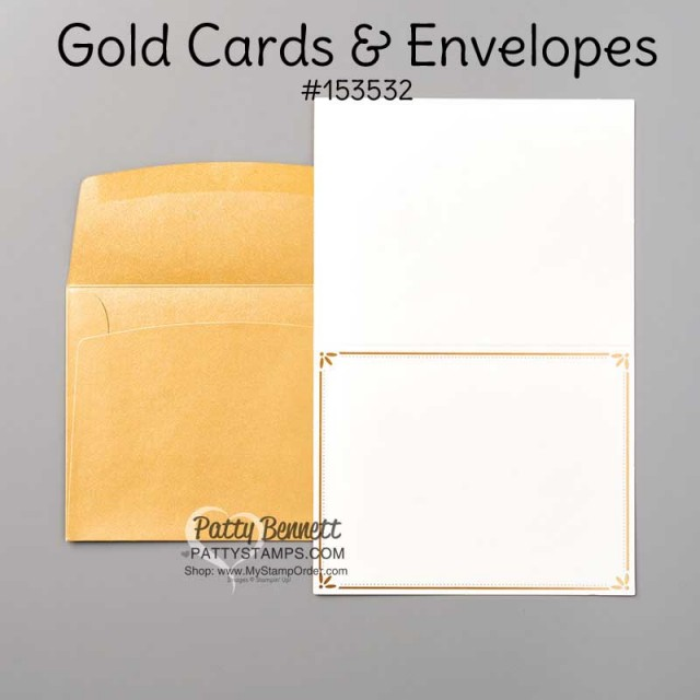 153532 Gold Cards & Envelopes pack from Stampin Up - Holiday catalog 2020 www.PattyStamps.com