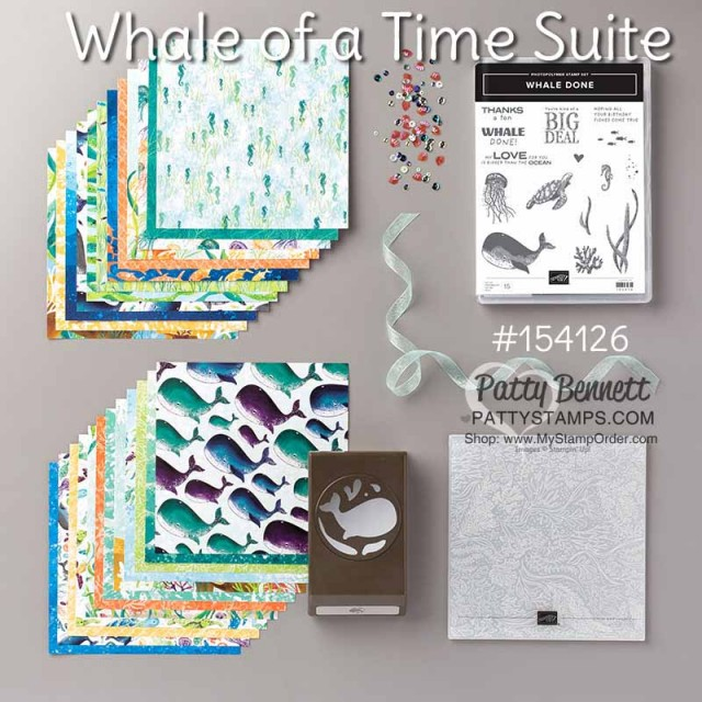 Whale of a Time suite from Stampin UP: Whale Done bundle includes stamp set and whale punch. Suite includes designer paper, embossing folder, sequins and ribbon. #154126 www.PattyStamps.com