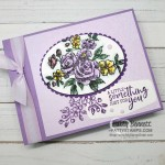 Stampin Up Fancy Phrases floral stamp set #152530 is a great outline flower stamp perfect for coloring with Stampin