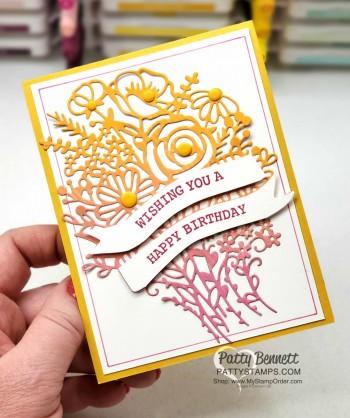 Hand Drawn Blooms die cut birthday cards