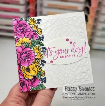 Magenta Madness Square Doilies Card Idea