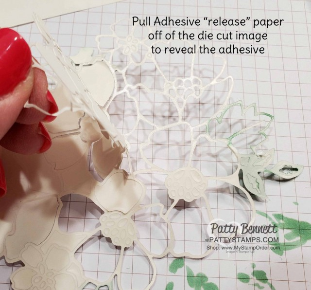 Use Stampin Up Adhesive Sheets #152334 with detailed dies for easy card assembly. No more messy glue. www.PattyStamps.com