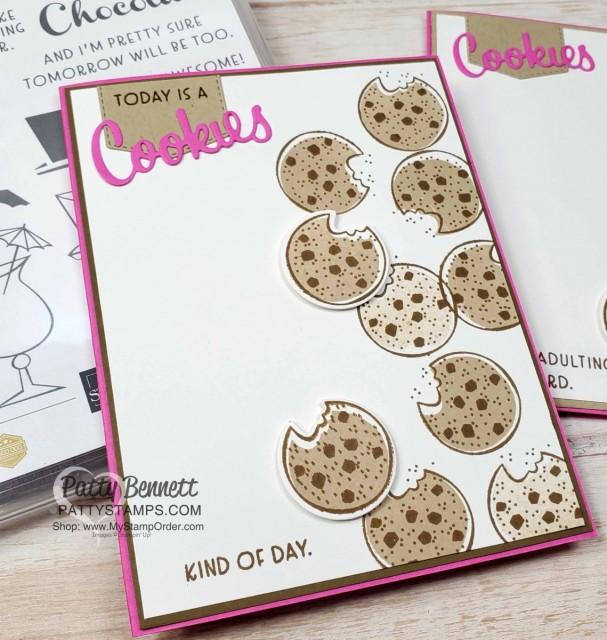 Cute cookie card featuring Nothing's Better than Chocolate Chip Cookies handmade card idea featuring Stampin' UP! bundle #154061. shop Stampin UP online www.PattyStamps.com