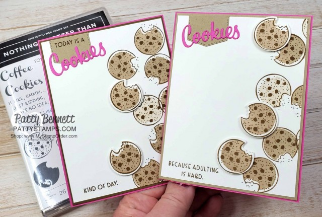 Cookie Cards! Cute cookie card featuring Nothing's Better than Chocolate Chip Cookies handmade card idea featuring Stampin' UP! bundle #154061. shop Stampin UP online www.PattyStamps.com