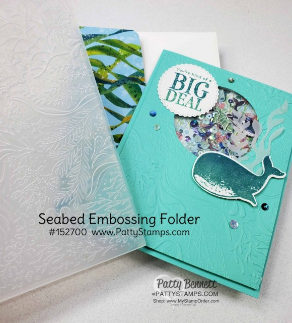 Shaker Card Tips for the Whale of a Time card from Stampin UP: Whale Done bundle includes stamp set and whale punch. Use the Seabed embossing folder for your Shaker Card front panel. www.PattyStamps.com