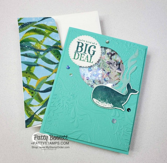 Whale of a Time Suite from Stampin UP: Whale Done bundle includes stamp set and whale punch. Shaker Card Tips www.PattyStamps.com