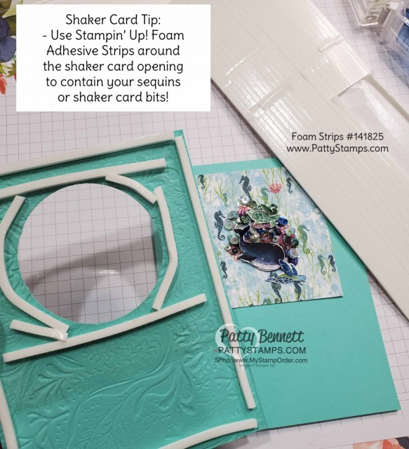 Shaker Card Tips for the Whale of a Time card from Stampin UP: Whale Done bundle includes stamp set and whale punch. Use Foam Adhesive Strips for your Shaker Card. www.PattyStamps.com