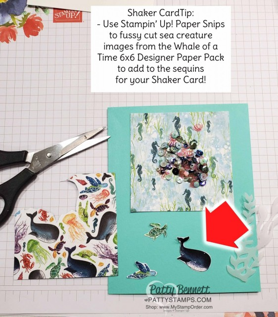 Shaker Card Tips for the Whale of a Time card from Stampin UP: Whale Done bundle includes stamp set and whale punch. Fussy cut sea creatures from the Whale of a Time DSP for your Shaker Card. www.PattyStamps.com