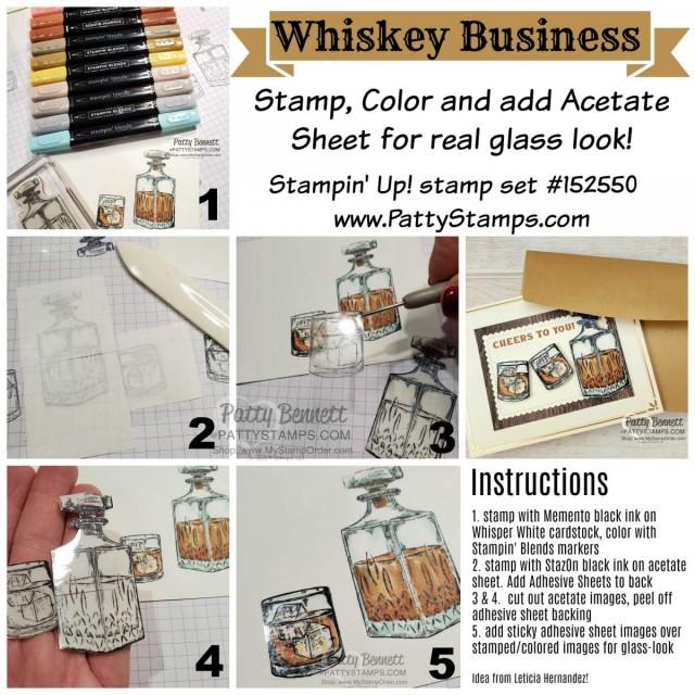 How to make the Whiskey Business Card featuring coloring with Stampin' Up! Blends markers, Acetate Sheets applied with Adhesive Sheets, and gold cards & envelopes by Patty Bennett www.PattyStamps.com