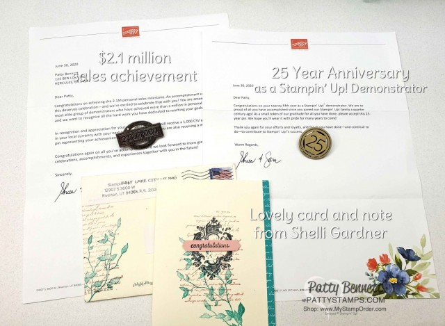 Stampin Up recognition for $2.1 million in personal sales and 25 years as a Stampin' UP! demonstrator! www.PattyStamps.com Patty Bennett August 2020