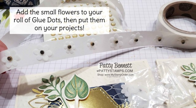 Tip! Add small embellishments to your roll of glue dots! Boho Indigo Product Medley from Stampin Up, full of amazing card making and papercrafting supplies! #153132 www.PattyStamps.com