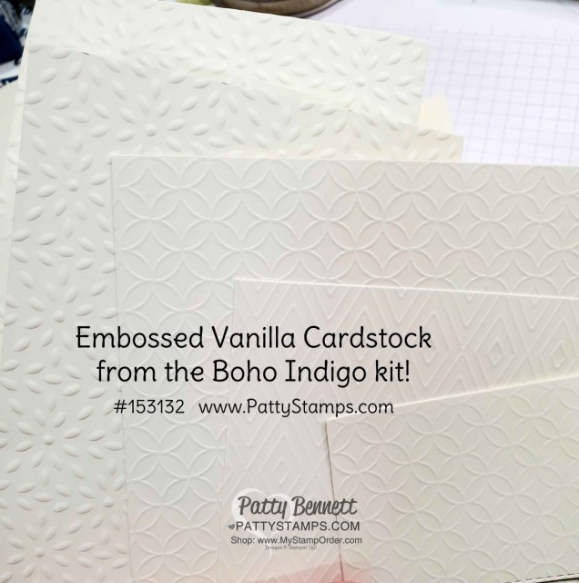 Embossed cardstock in the Boho Indigo Product Medley from Stampin Up, full of amazing card making and papercrafting supplies! #153132 www.PattyStamps.com