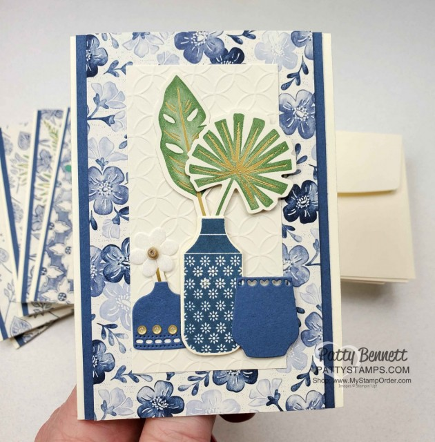 Boho Indigo Product Medley from Stampin Up, full of amazing card making and papercrafting supplies! #153132 www.PattyStamps.com Vanilla Note Card Idea with die cut vases.