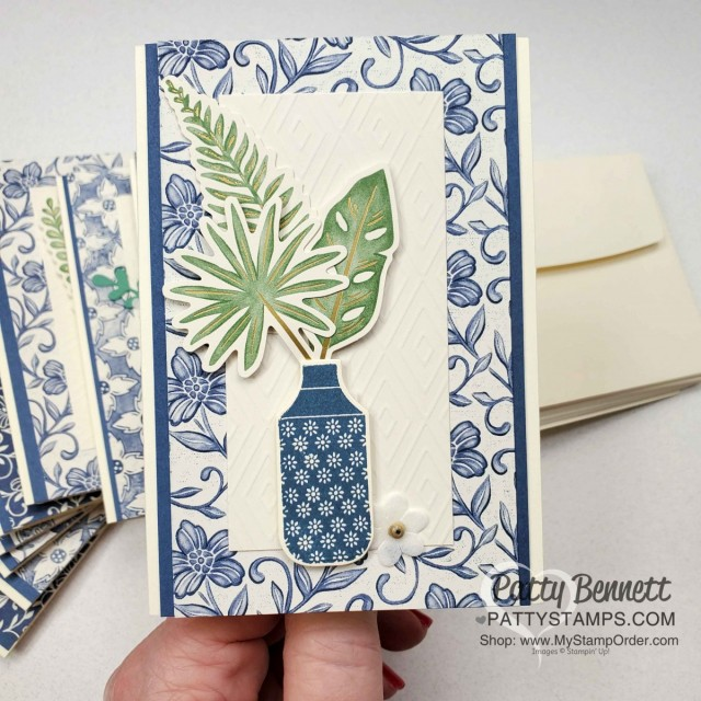 Boho Indigo Product Medley from Stampin Up, full of amazing card making and papercrafting supplies! #153132 www.PattyStamps.com Vanilla Note Card Idea with vase.