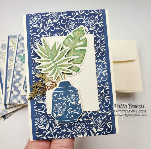 Boho Indigo Product Medley from Stampin Up, full of amazing card making and papercrafting supplies! #153132 www.PattyStamps.com Vanilla Note Card Idea with vase and gold fern die cuts.