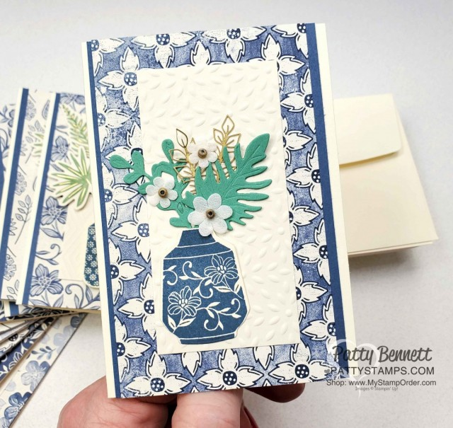 Boho Indigo Product Medley from Stampin Up, full of amazing card making and papercrafting supplies! #153132 www.PattyStamps.com Vanilla Note Card Idea with vase and paper flowers.