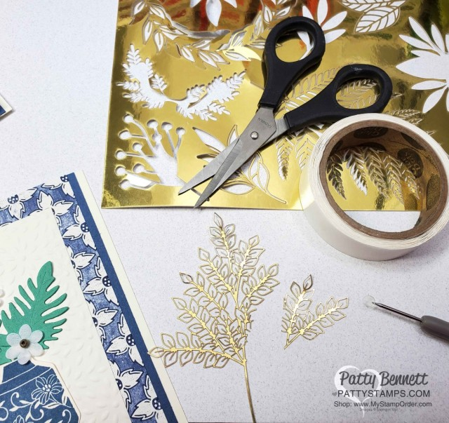 Forever Gold specialty paper - snip pieces of the ferns and leaves apart to add small gold accents to the Boho Indigo note cards. www.pattystamps.com